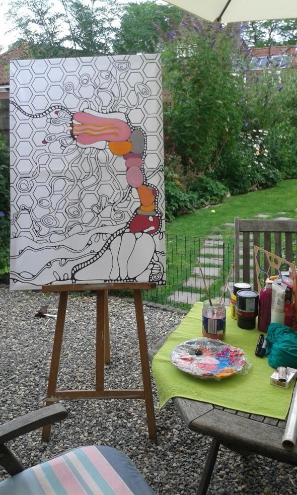 31-7-2015 myrdin schilderen in tuin