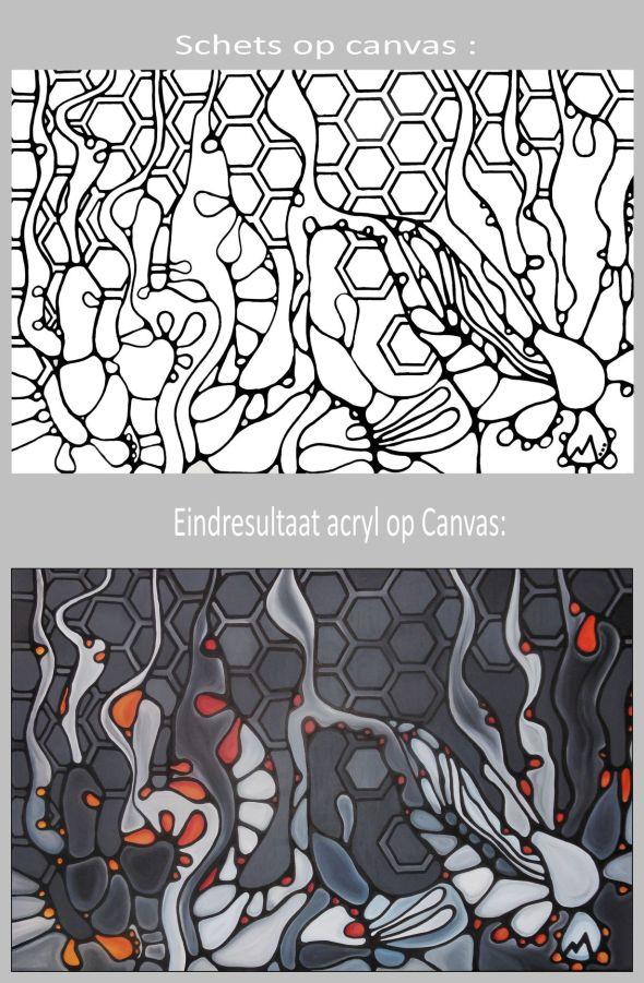 organisch decor grijs wit rood oranje VOOR en NA